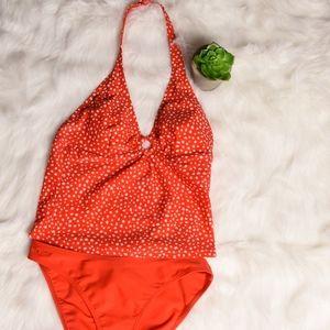 Speedo 2 Piece Tankini red pok-a-dot set, size 8